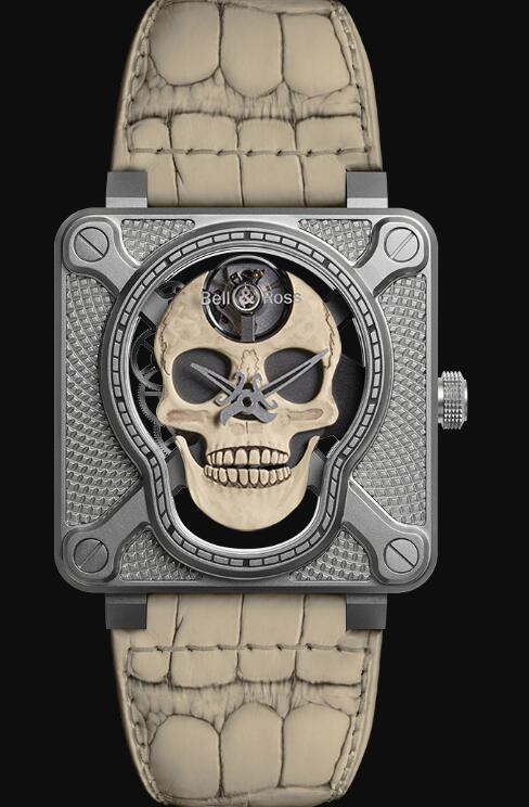 Bell & Ross BR 01 LAUGHING SKULL WHITE BR01-SKULL-O-SK-ST Replica Watch